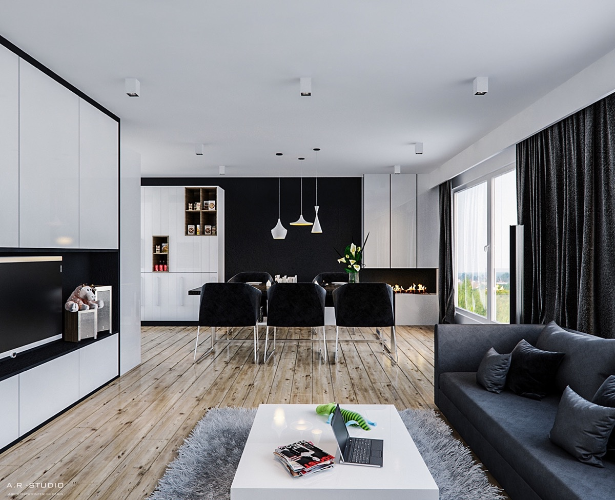 8fd2d1cdce44 30 Black   White Dining Rooms That Work Their Monochrome Magic