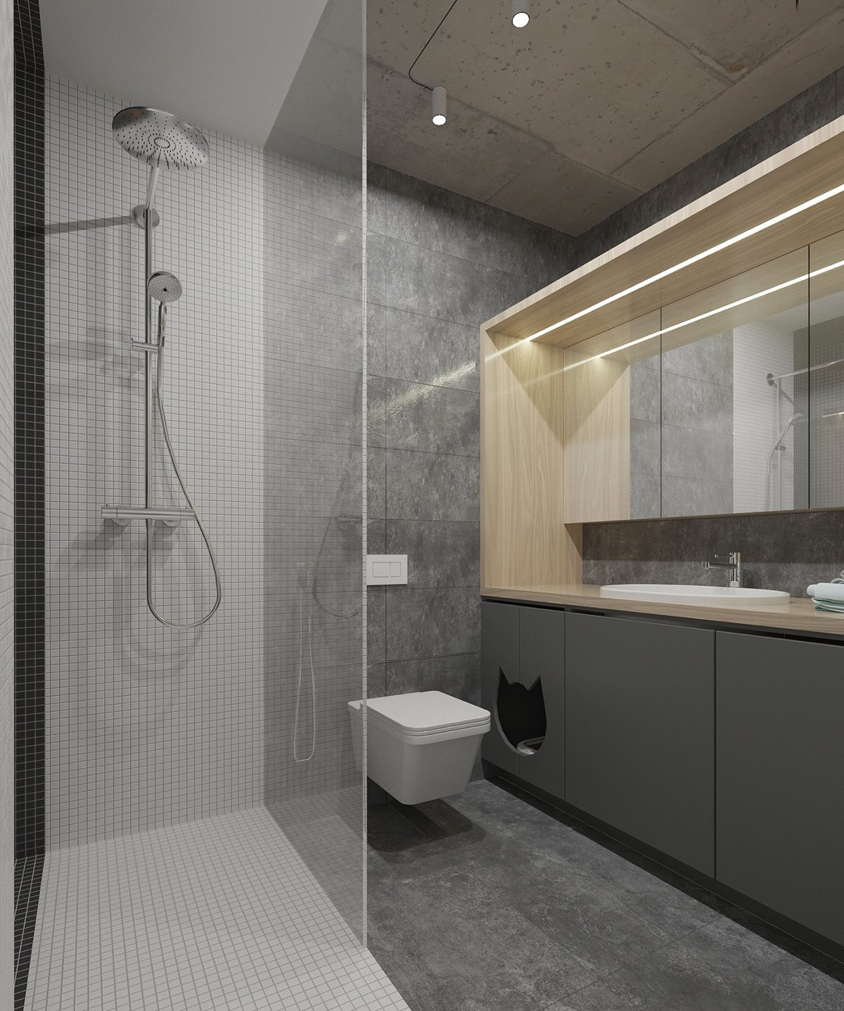 How To Create A Greyscale Bathroom: 4 Bright Studio Apartments With Creative Bedroom Placement