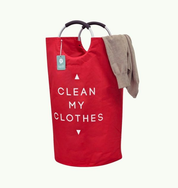It Foldable Red Laundry Basket