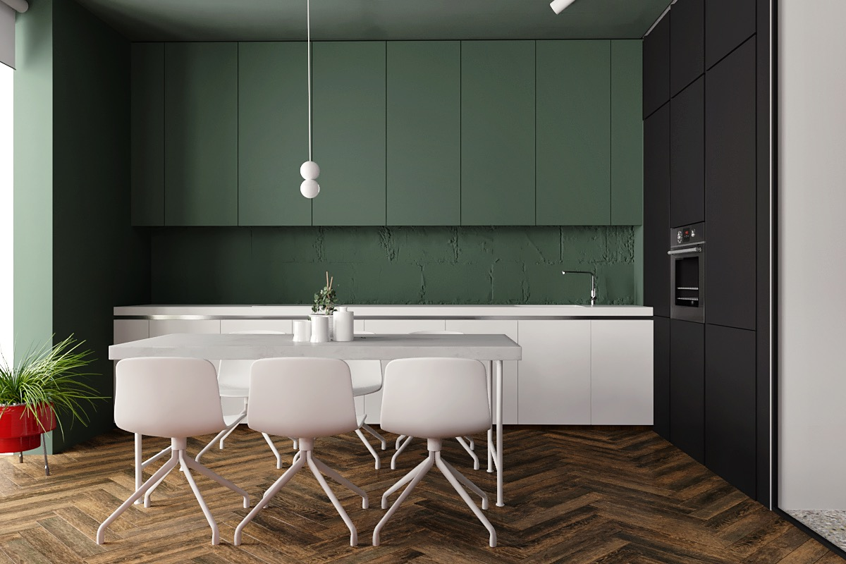 dark green kitchen cabinets home designing 5 studio apartments with inspiring modern 14455