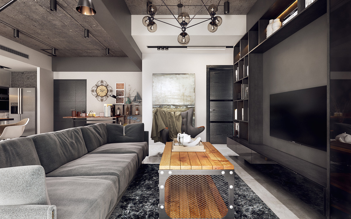 pictures industrial astounding chic living room decor | Industrial Style Living Room Design: The Essential Guide