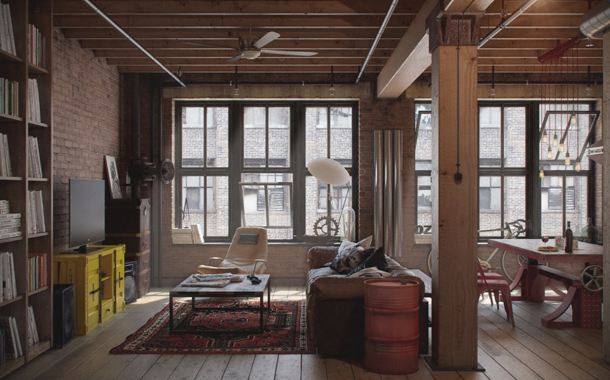 The industrial can be eclectic. Factory-windowed and brick-walled, this  living room exudes a beachy feel with simple wooden rafters and a block  bookcase.