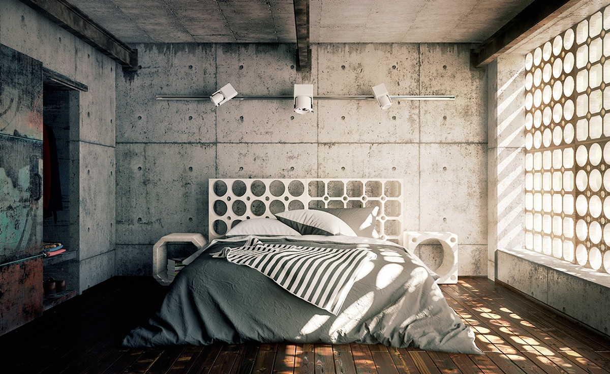 industrial style bedroom design the essential guide 11891 | cement wall perforated headboard modern industrial bedroom