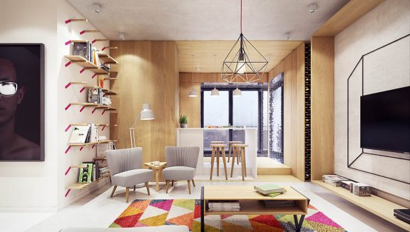 A Comfortable Modern Endangering with Colorful Accents