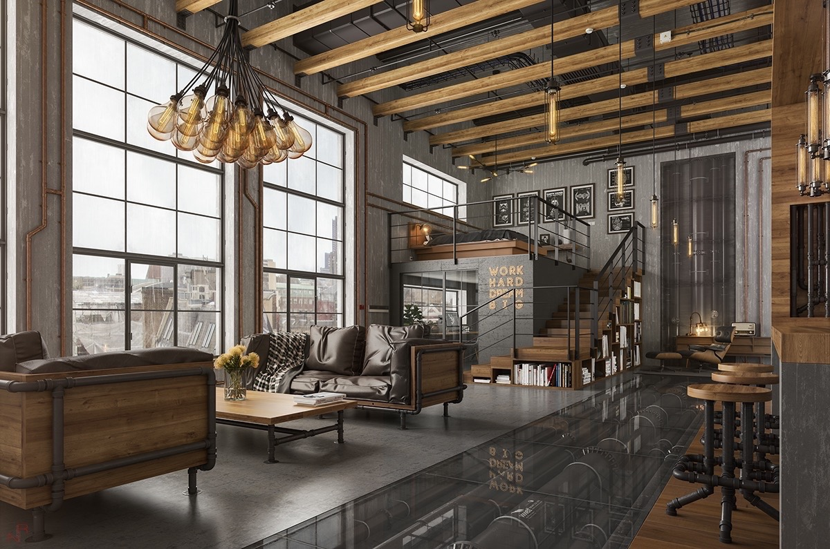 rafters living lighting. This Lounge, Kitchen And Bedroom Area Uses Steel, Glass Polished Wood To Create The Vibe Of A Modern Factory. Ceiling Rafters, Couch Frames, Rafters Living Lighting