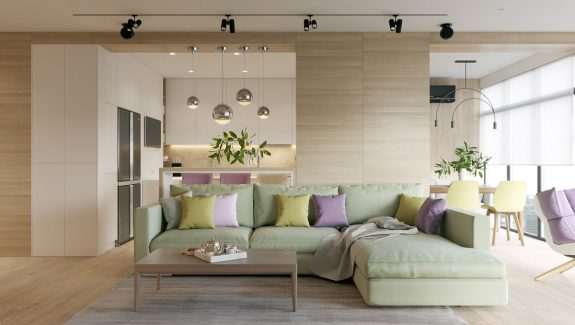 Pastel Accents Over Expansive Light Wood In Two Modern Endangerings