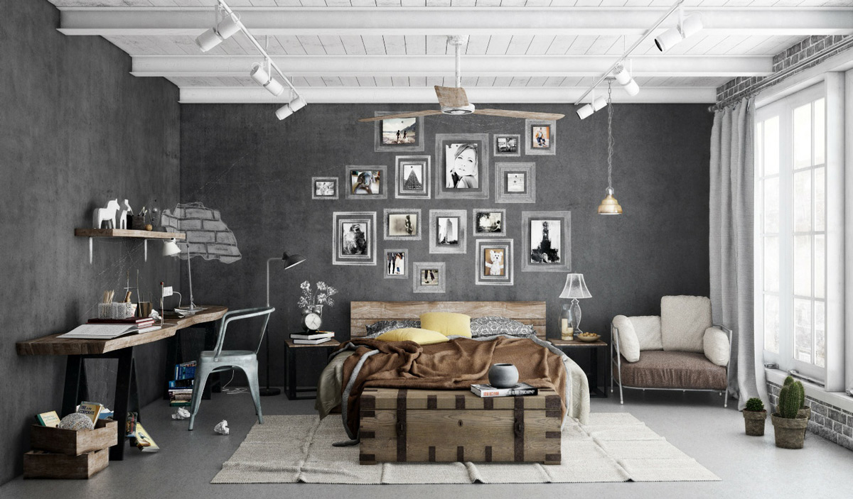 Want your industrial bedroom to have a vintage feel? Paint your concrete in  charcoal and French windows in white, while you pepper your walls with  black and ...