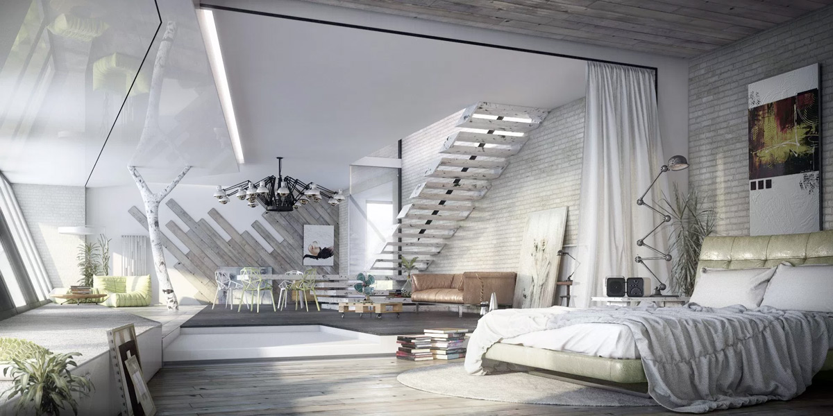 industrial style bedroom design the essential guide 11891 | white with exposed ladder steps modern industrial bedroom