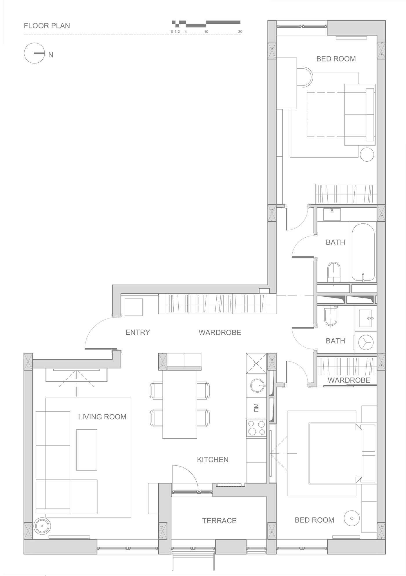 Double Bedroom L Shaped Home Design 2 Examples With Floor