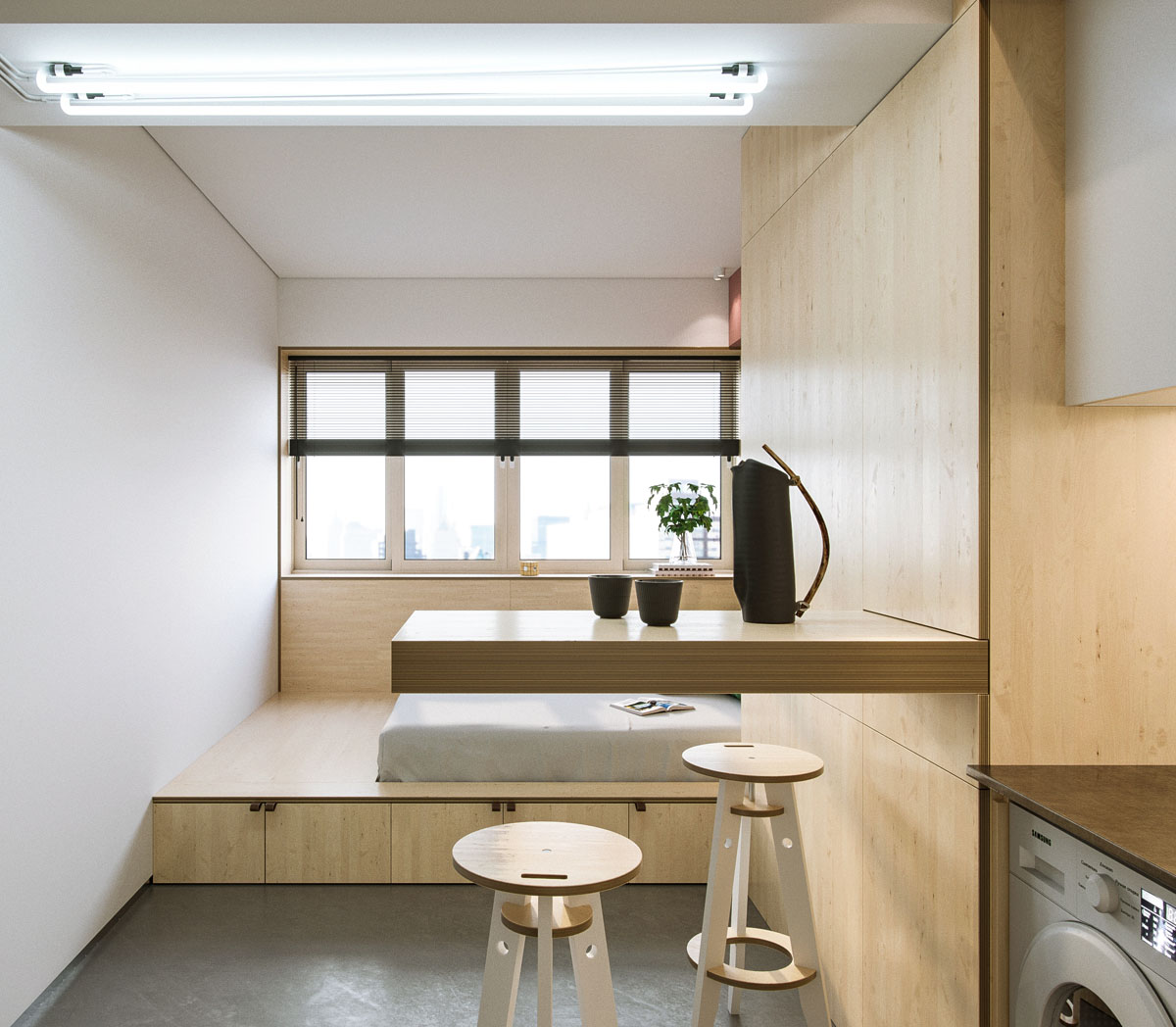 Find Efficiency Apartments: Super Compact Spaces: A Minimalist Studio Apartment Under