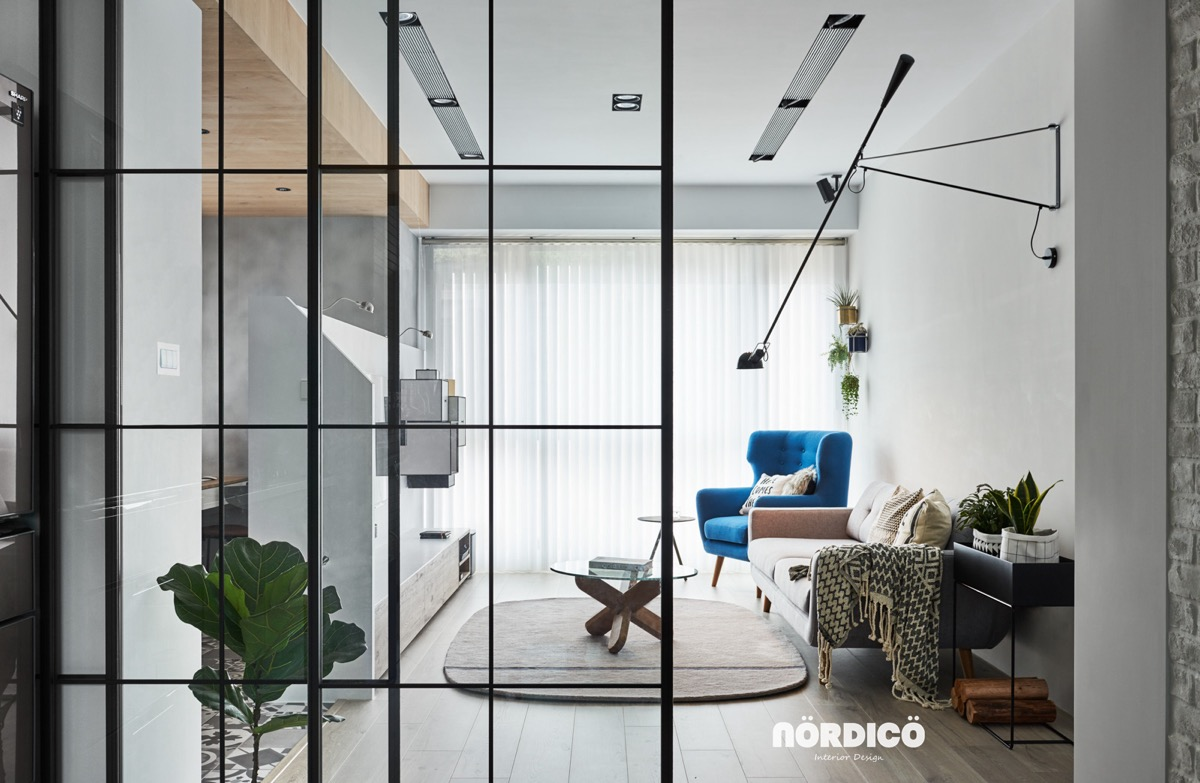 A bright airy home with lots of white - Interior glass wall designs for houses ...