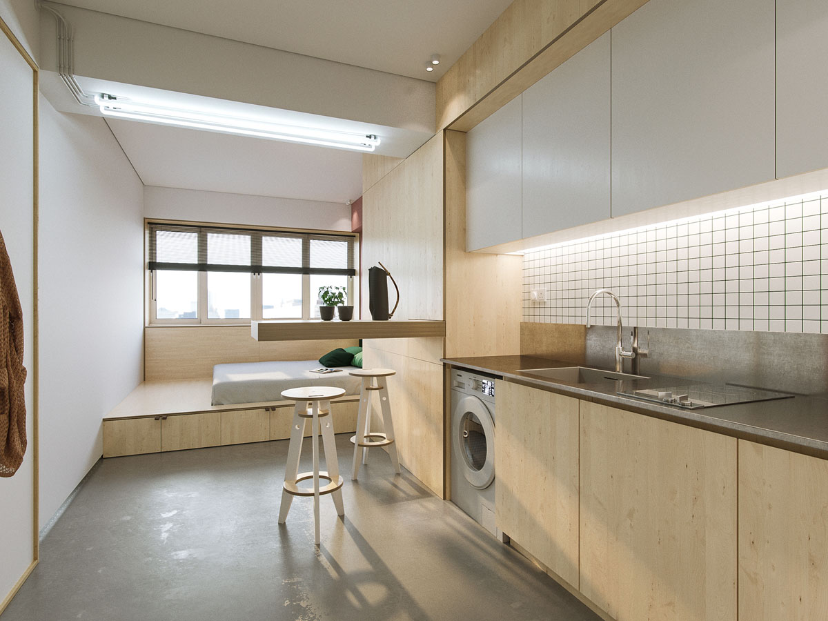 HOME DESIGNING: A Minimalist Studio Apartment Under 23 Square Meters ...