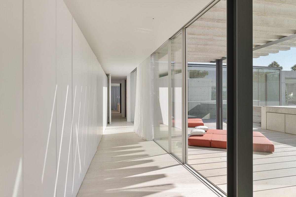 Throughout The Interior, The Décor Remains Light And White. White  Cupboards, Floors And Ceilings Line The Hallways Beside Relaxation Areas,  Made Larger By ...