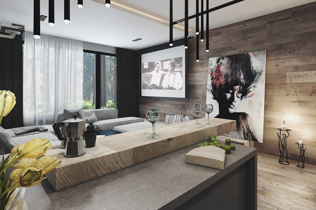 Home designing 4 interiors where wood and concrete meet - The penthouse apartment in kiev when nature meets modern ...
