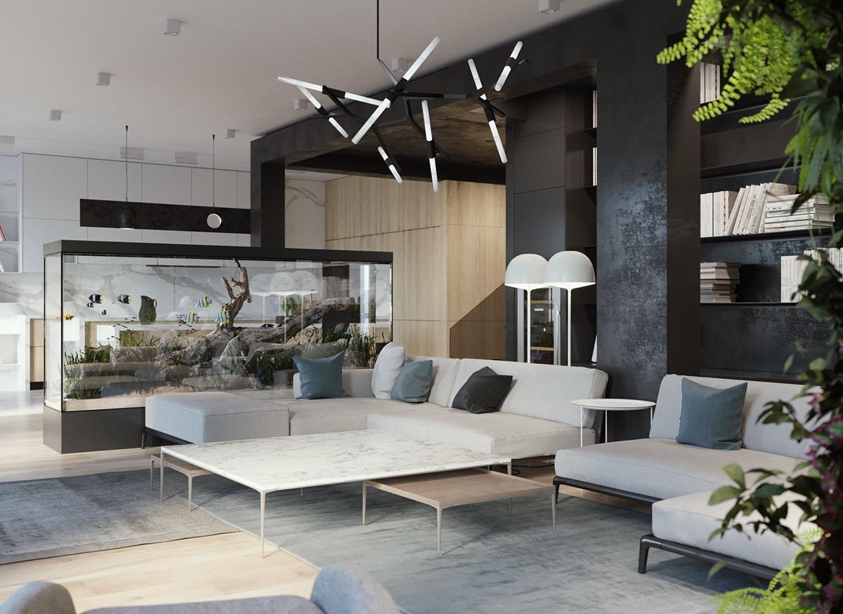 minimalist interior design with green plant accents. Black Bedroom Furniture Sets. Home Design Ideas
