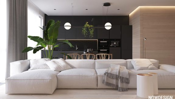 Minimalist Interior Design Using White, Wood And Black With Green Plant Accents: 2 Gorgeous Examples