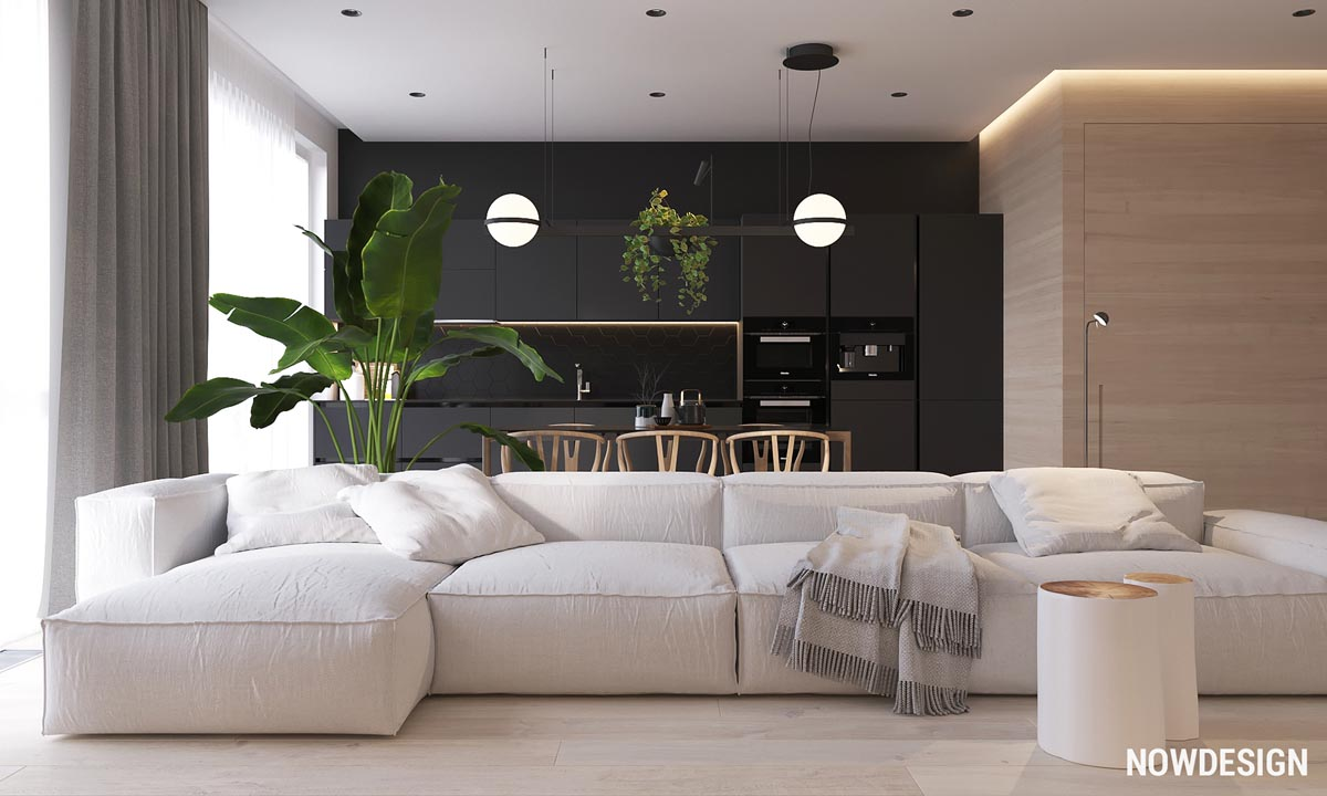 Minimalist Interior Design Using White Wood And Black With Green Plant Accents 2 Gorgeous Examples