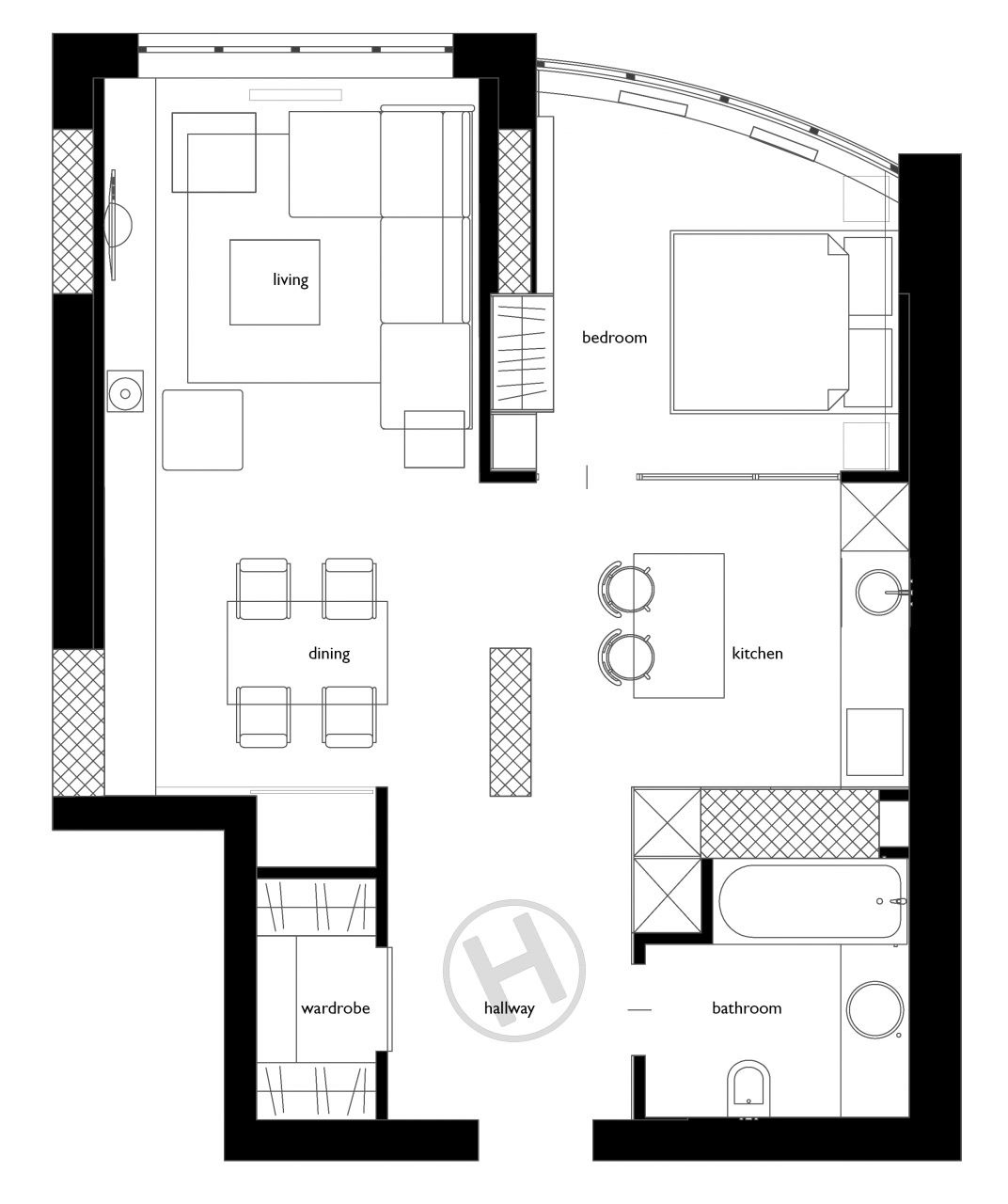 30 Black White Living Rooms That Work Their Monochrome Magic: 2 One-Bedroom Home Apartment Designs Under 60 Square