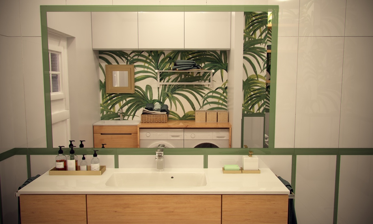 Tropical Bathroom Decor: 2-Bedroom Modern Apartment Design Under 100 Square Meters
