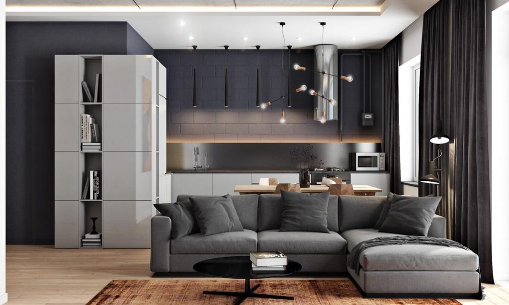2 Masculine Interiors In Shades Of Grey Black Brown