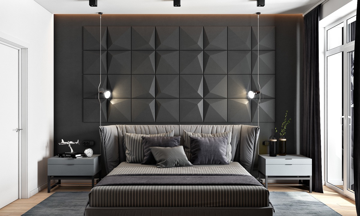 Stone And Wood Make A Dark Masculine Interior: 44 Awesome Accent Wall Ideas For Your Bedroom