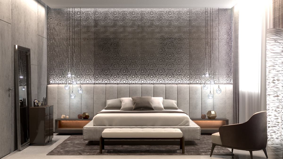 lovely gray accent wall bedroom | 44 Awesome Accent Wall Ideas For Your Bedroom