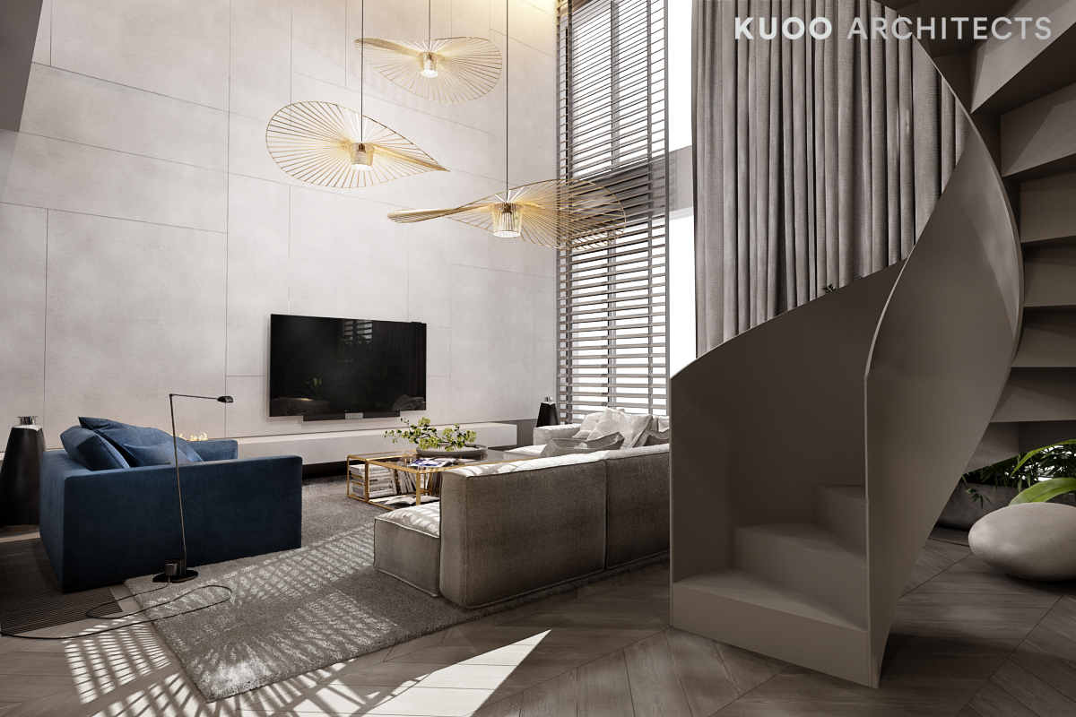 A Luxury Apartment With A Double Height Ceiling