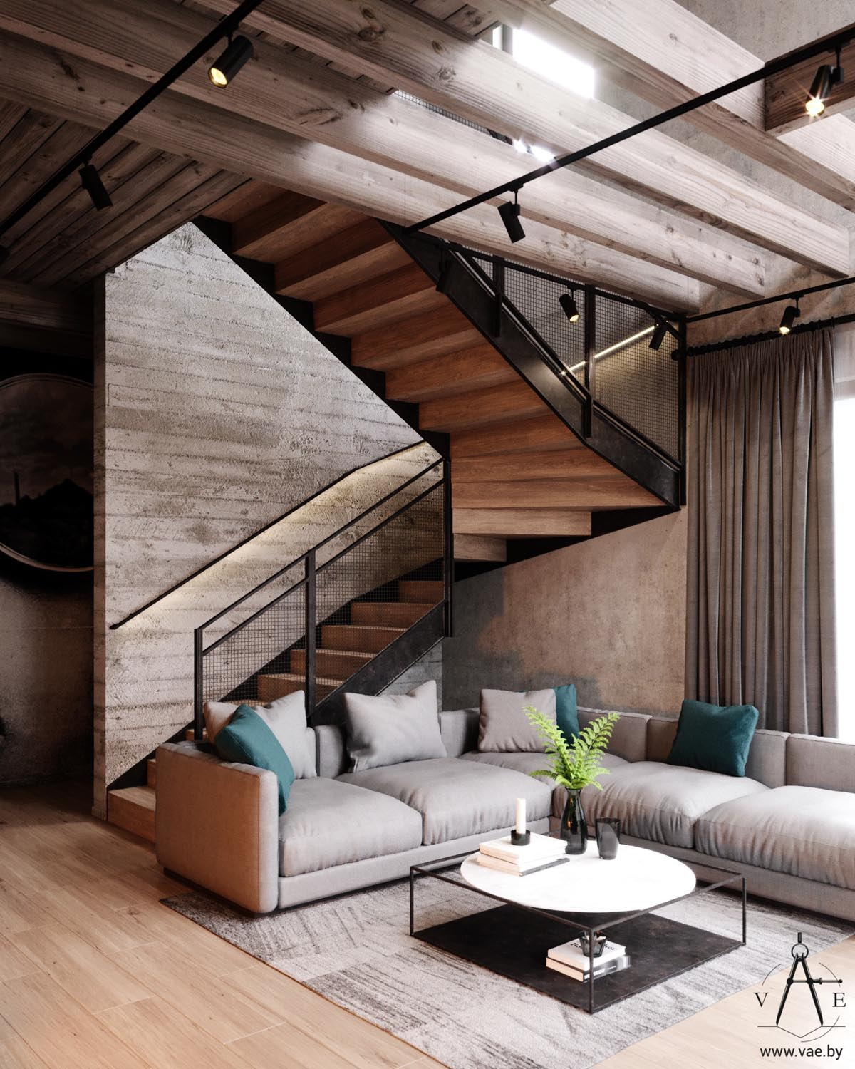 Industrial Home Interior Design: Warm Industrial Style House (With Layout