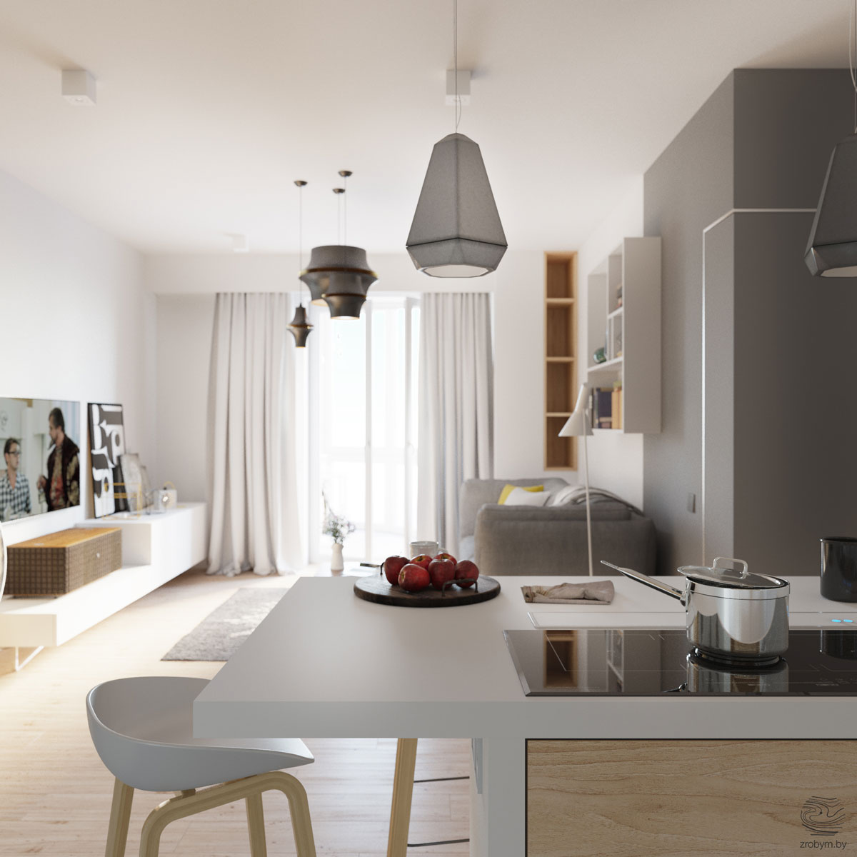 Burford Place Open Plan Kitchen With Breakfast Bar Island: Grey And Yellow Open Plan Small Apartment Tour