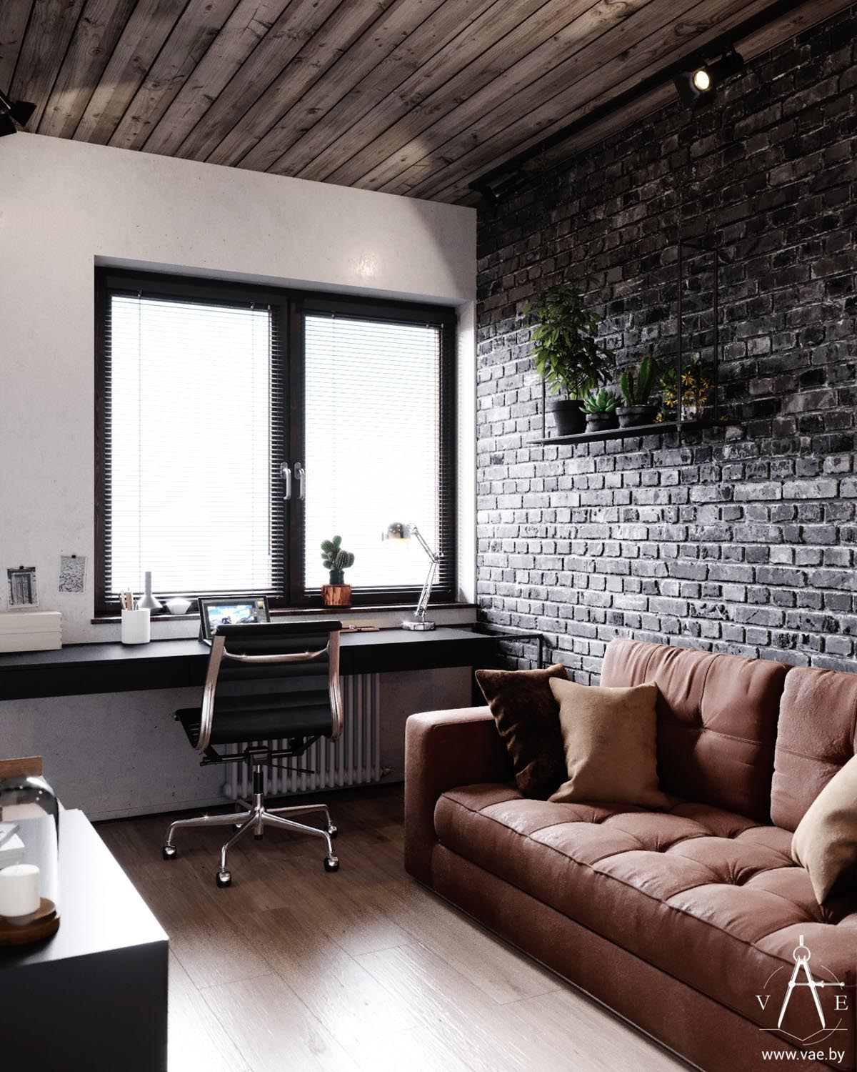 33 Inspiring Industrial Style Home Offices That Sport: Warm Industrial Style House (With Layout