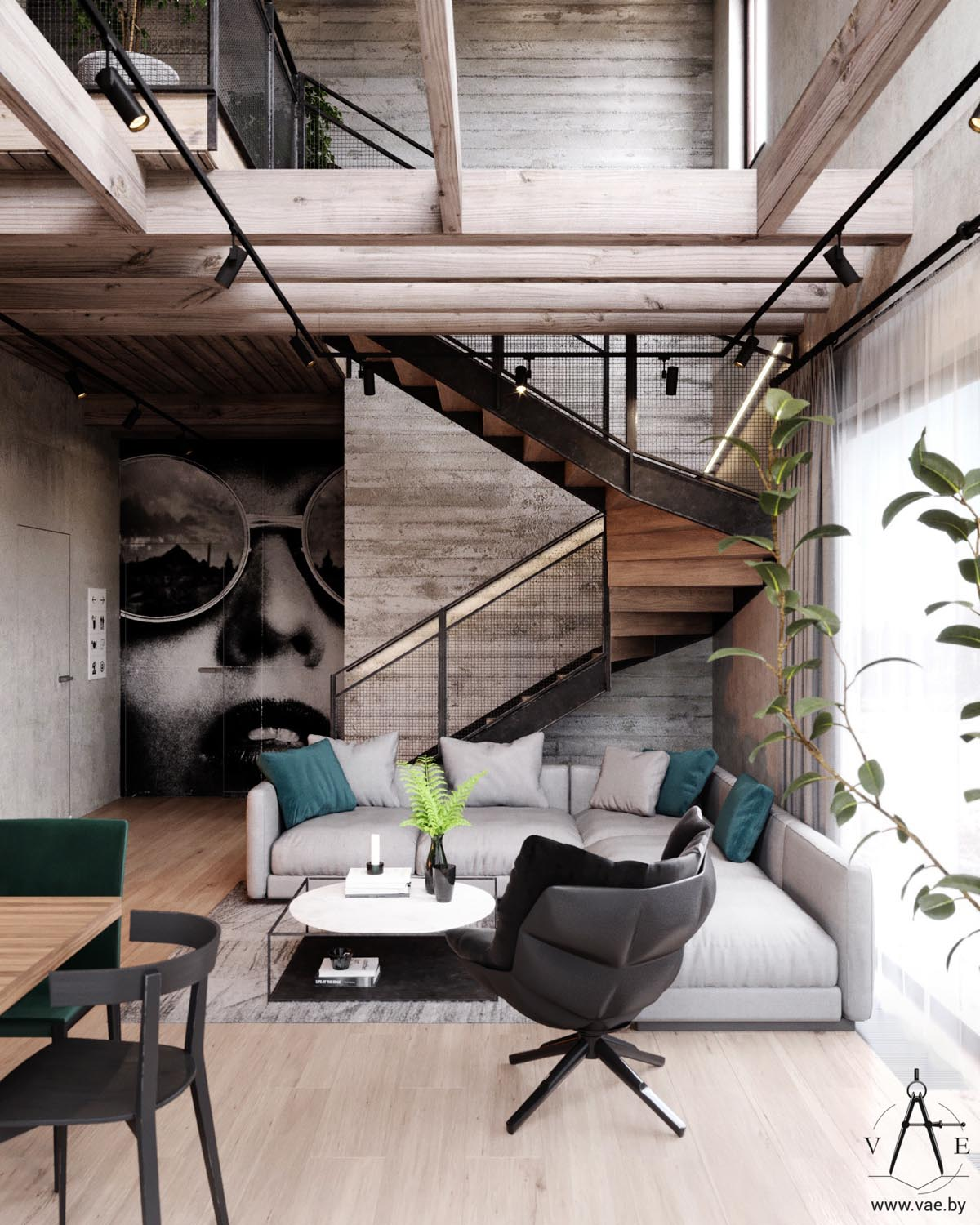 Modern Home Plans With Lofts: Warm Industrial Style House (With Layout