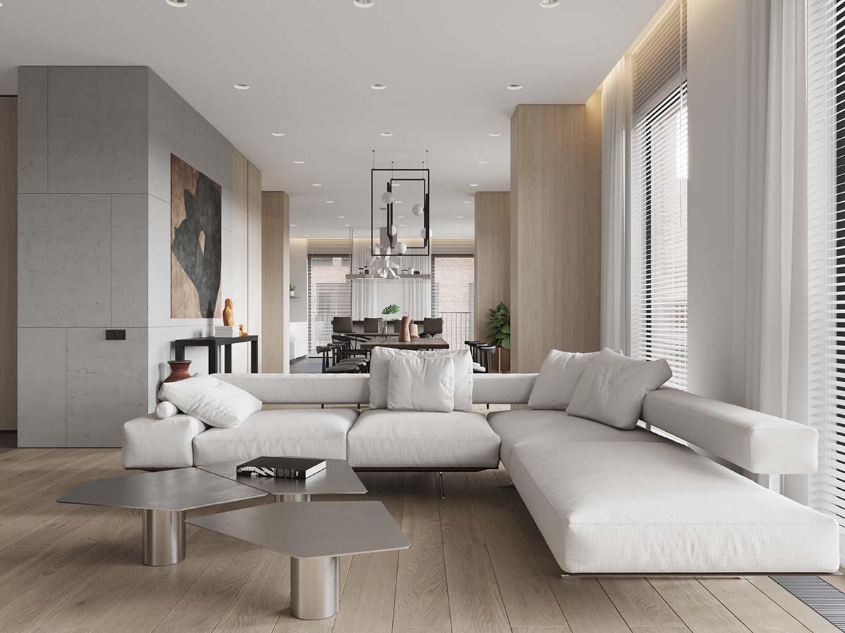 White Sectional Sofa Interior Design, White Sectional Living Room Ideas