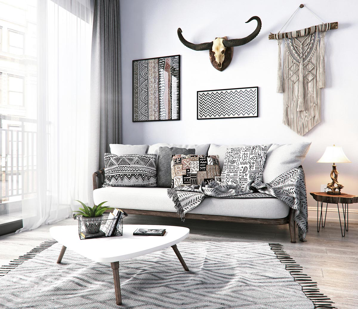 modern monochrome tribal decor. Black Bedroom Furniture Sets. Home Design Ideas