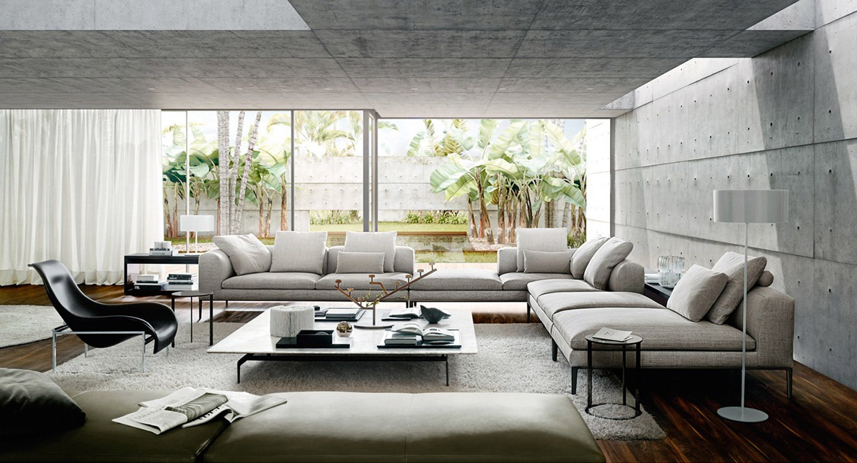 40 stylish living rooms that use concrete to stand out - Cement showcase designs living room ...