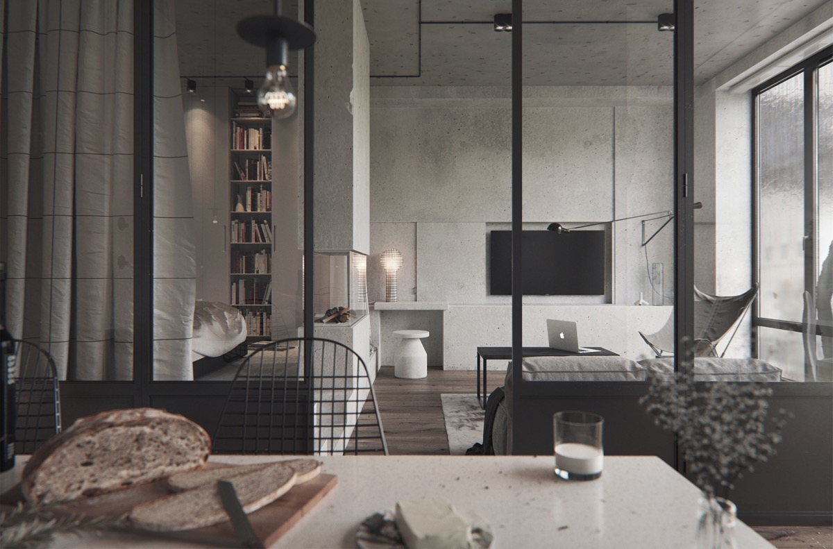 40 stylish living rooms that use concrete to stand out - Apartment living room decor ...