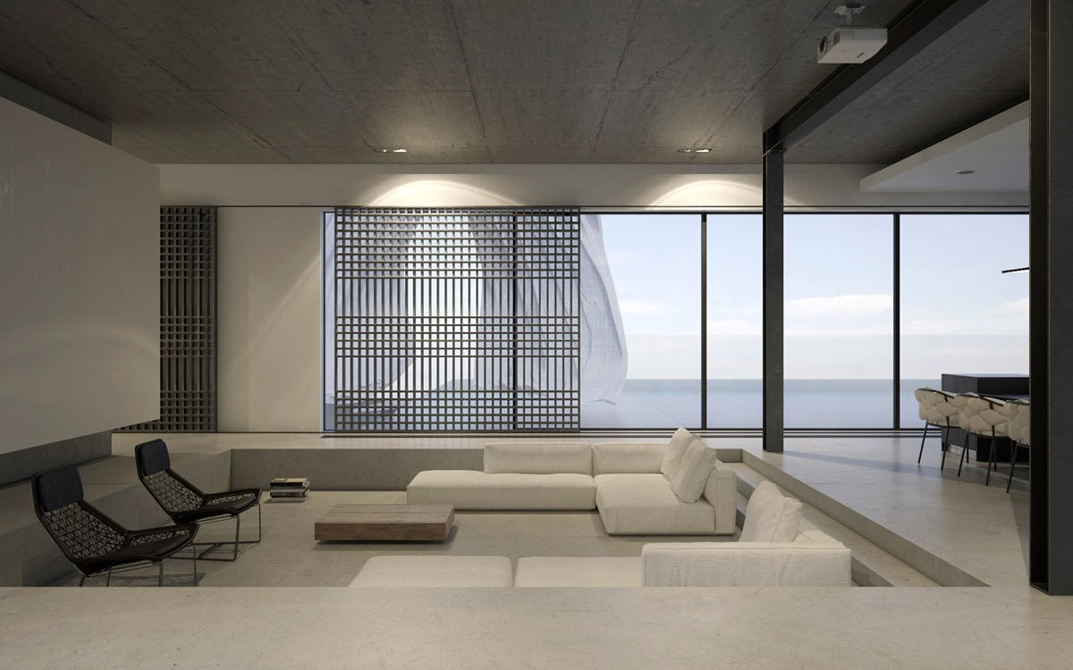 40 stylish living rooms that use concrete to stand out - Minimalist interior design living room ...