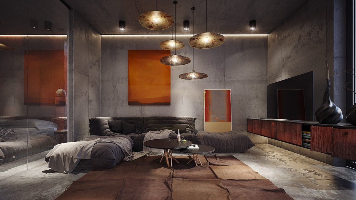 awesome concrete wall decorations minimalist living room | 40 Stylish Living Rooms That Use Concrete To Stand Out
