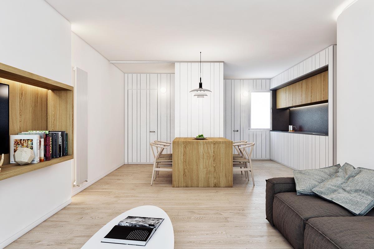 HOME DESIGNING: Dark Grey, White & Wood Tone Decor With ...