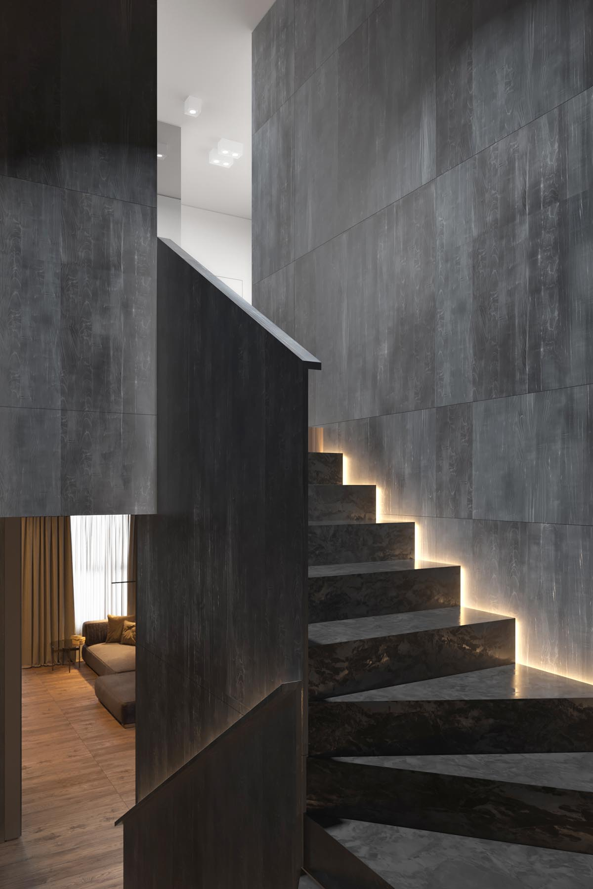 Lighting Basement Washroom Stairs: Dark Grey Home Decor With Warm LED Lighting