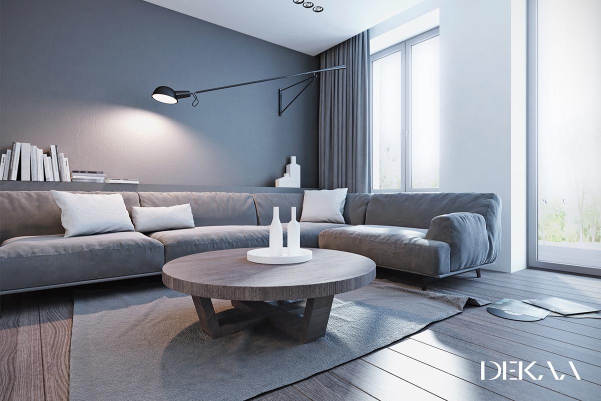 White Grey Interior Design In The Modern Minimalist Style