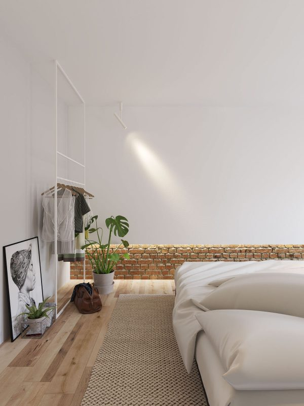 White walls and exposed brick go minimalist in this couple s retreat interior design ideas