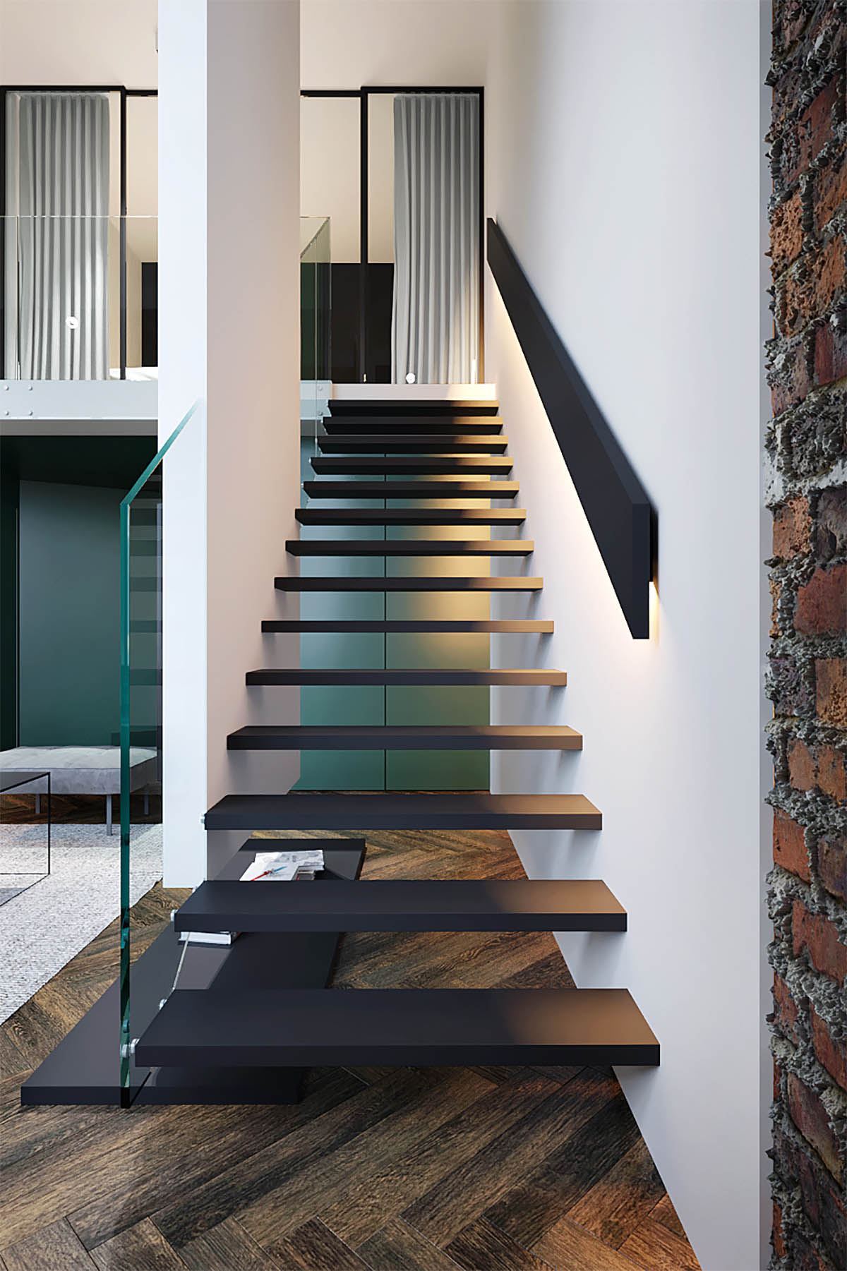 Three Homes Using Exposed Brick Wood Panelling And Grey