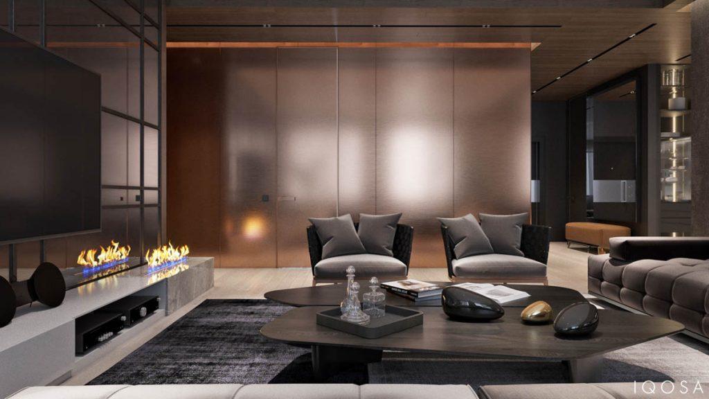 incredible luxury apartment living room   Luxury Apartment Interior Design Using Copper: 2 Gorgeous ...