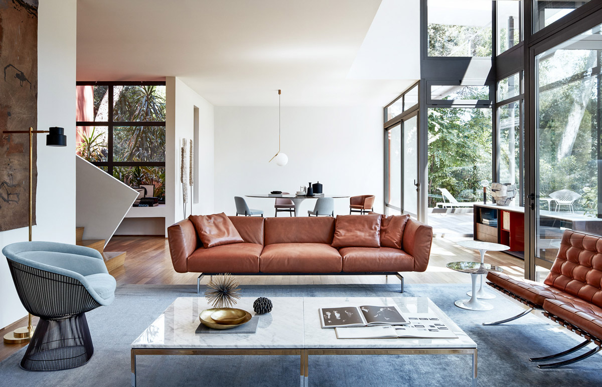 modern brown sofa living room