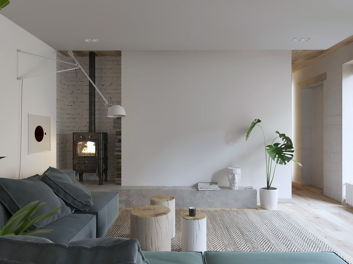 White Walls And Exposed Brick Go Minimalist In This Couple