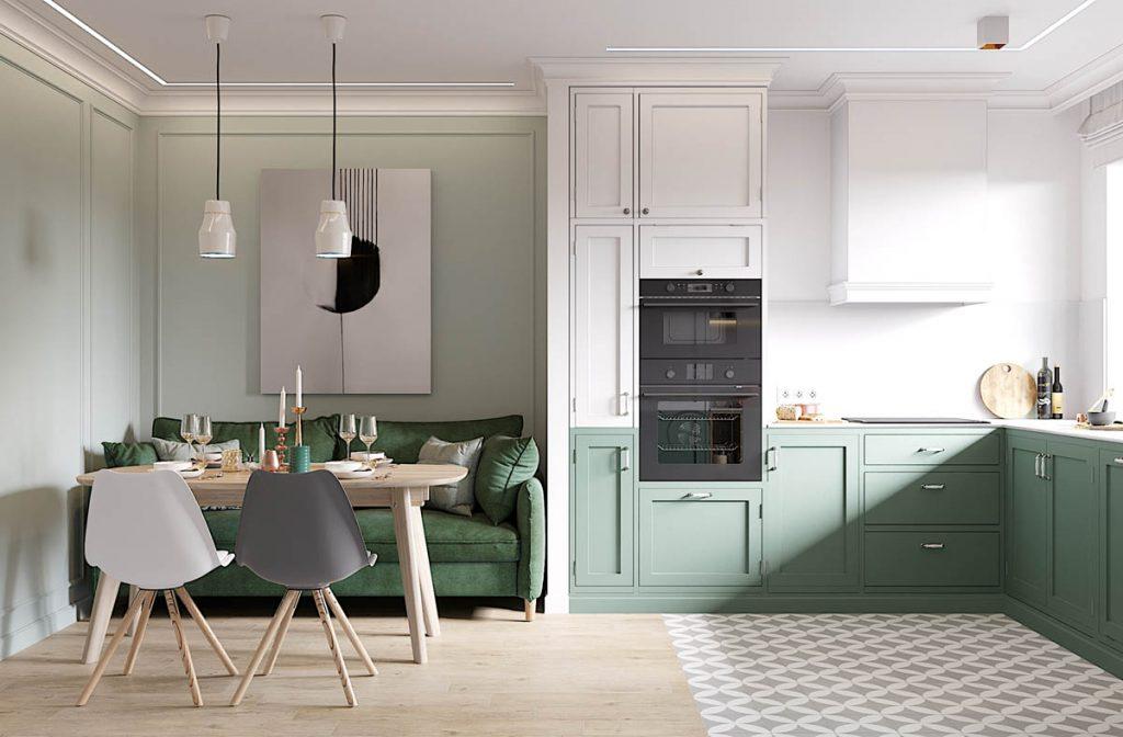 Elegant Scandinavian Style Home With Green Decor