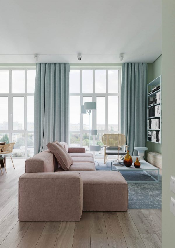 A floor lamp and a wall mounted bookcase carry through more of the calming blue hue