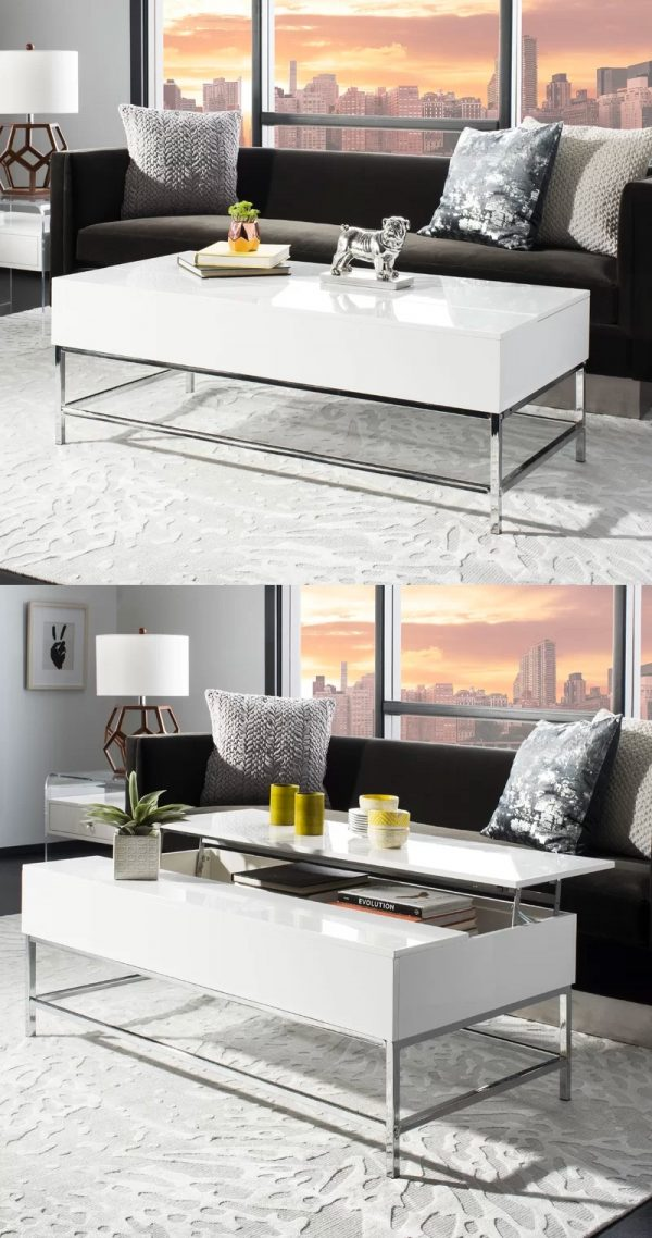 It Contemporary White Lift Top Coffee Table
