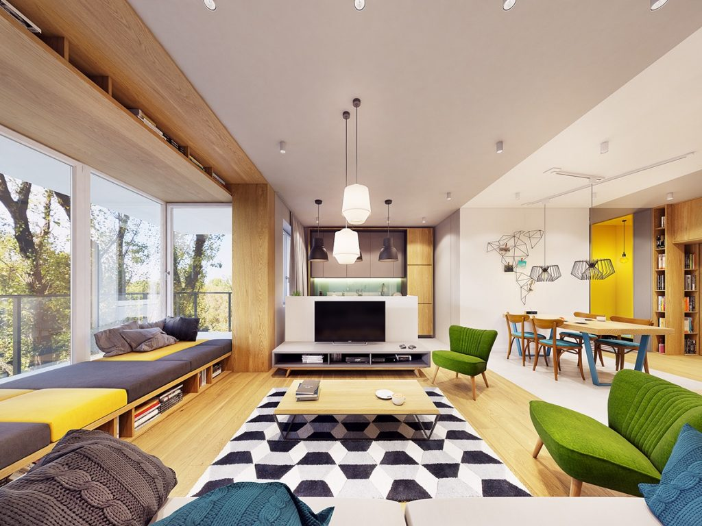 Funky Modern Interior With Natural Accents Amp Geometric Decor