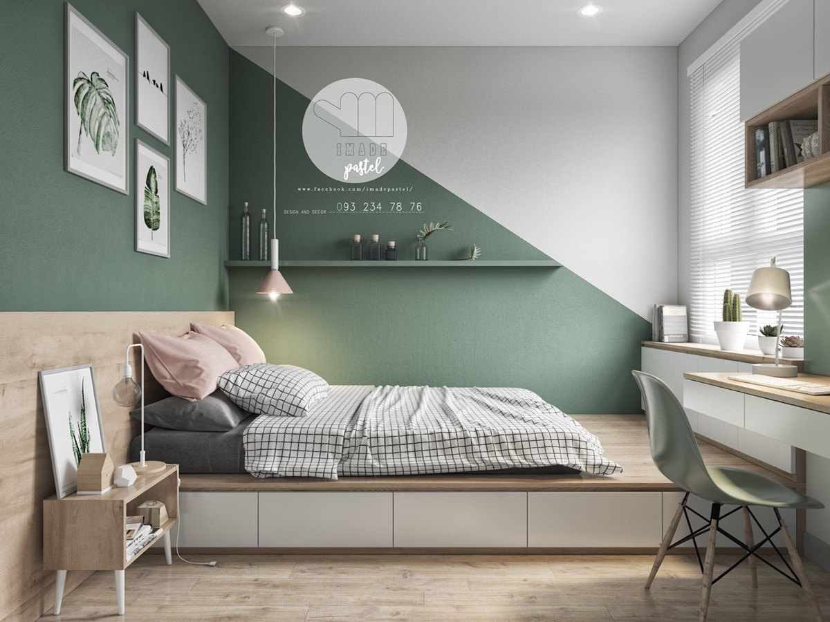 Colourful Interiors With Connection Green Coral Blue Yellow Decor